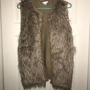 Tan Knitted Faux Fur Vest